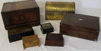 2 Victorian mahogany jewellery boxes (damaged) brass casket, 2 Oriental lacquered boxes and 2