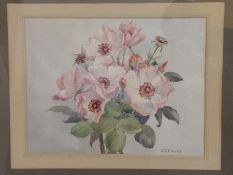 """Framed watercolour """"Dainty Bess Roses"""" signed J E Duley"""