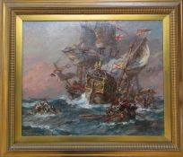Gilt framed and glazed oil on canvas 'Fate of the Galleon' by Bernard Finegan Gribble (1873-1962),
