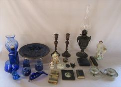 Various blue glassware inc paperweights and vases, ceramics inc Coalport, oil lamp (af), silver