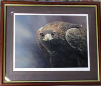 Framed limited edition print of a golden eagle 'Magnificent' by Alan M Hunt signed and numbered in