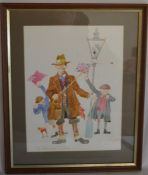Framed Colin Carr watercolour 'Two Stick Charlie'. Frame size 39cm by 32 cm