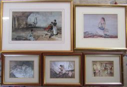 Selection of Russell Flint framed prints inc Gisele, Zepherine & Casual Assembly