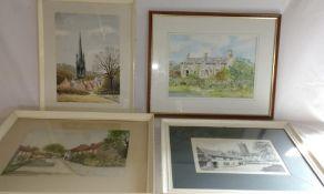 Large framed watercolour depicting Estate Cottages Aswarby Lincolnshire signed D Holman, framed