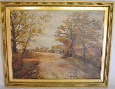 Early 20th century oil on canvas of a village scene with small dog in foreground. Frame size 75cm by