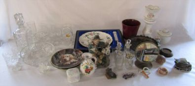 Assorted ceramics and glassware inc boxed Coalport cake plate and knife, mirror, collectors plates