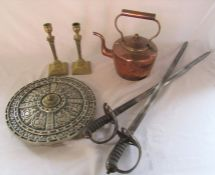 Copper kettle, pair of brass candlesticks & a wall art / display shield and sword set