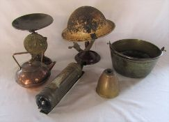 Various brass ware etc inc Warden's helmet, Auto minimax hand pump type D major, scales, kettle