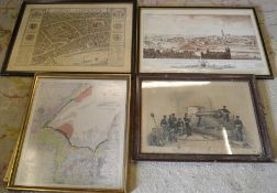 Framed print of Boston (glass broken), plan of Legal London 68 cm x 55 cm, map of the Wash & a