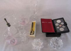 Various glassware inc Swarovski, Royal Canadian Mint 1985 proof set & a Continental silver teaspoon
