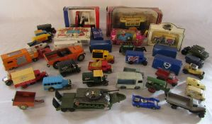 Assorted boxed and playworn die cast cars inc Corgi and Matchbox