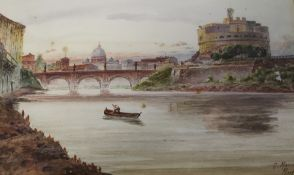 Oak framed watercolour depicting the river Tiber, Rome by G Marchetti 51cm x 36cm (including frame)