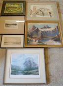 6 framed pictures including Oakham canal by Rigby Graham & an Alpine scene signed Bord etc