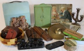 3 wood planes, child's cymbals, dolls wardrobe, door plate, typewriter, dominoes, oleographs etc.