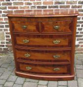 Victorian bow fronted chest of drawers (missing feet) H 111cm W 109cm D52cm