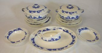 """A Bit Of Devon"" blue and white part dinner service (some chips and crazing)"