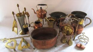 Various brass and copper inc kettles, fire companion set etc