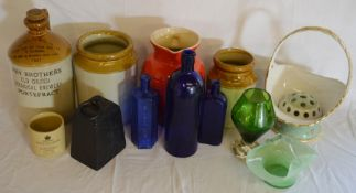 Various old stoneware bottles & jars, glass bottles, a potato weight etc