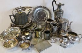 Selection of silver plate including trays, jugs and bowls, cigarette cases etc.