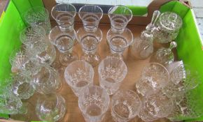 Box of assorted glassware inc 6 wine glasses with silver trim