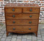 Georgian caddy top mahogany veneer chest of drawers on splayed bracket feet