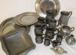 Selection of pewter including 2 London plates