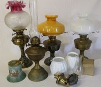 4 paraffin lamps (1 converted), 3 glass shades etc.