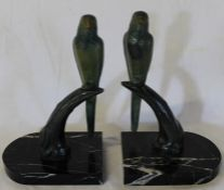 Pair of Art Deco style cold painted budgerigars on marble bases