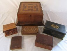 Various wooden boxes and a jewellery box