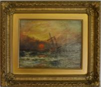 Small 19th century oil on canvas seascape of a ship at sunset signed S B Frame size 39cm by 34cm