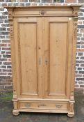 Pine 2 door wardrobe with decorative pediment and frieze drawer H 181 cm, W 113 cm, D 59 cm