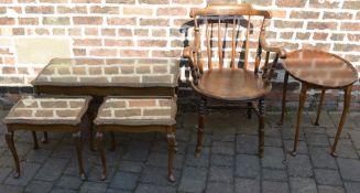Ibex chair (with broken arms), coffee table and two side tables & a small occasional table
