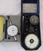Minutoys dial indicator & a Smiths Industrial Instruments Ltd Tachometer speed indicator