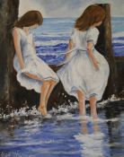 Large framed oil on board depicting 2 young girls at the beach by Leslie Treacher size approx.