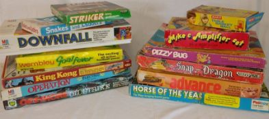 Selection of vintage board games including Merit Table Basketball, Striker Diving Goal Keepers and