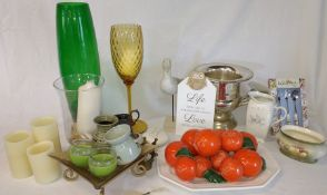 Selection of glass vases, mother of pearl spoon, decorative fruit bowl, candles etc.
