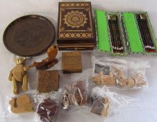 Selection of wooden puzzles, carved boxes, Chinese calligraphy set and brush sets etc
