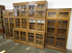 Large early 20th century oak sectional display bookcase (missing a handle) W 306 cm H 190 cm (please