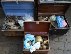 3 tin trunks of paraffin lamp parts