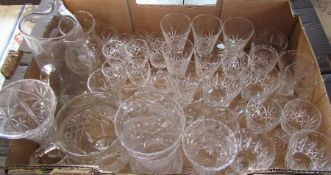 Boxed of assorted glassware inc jugs, wine glasses, sherry glasses, vases etc