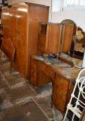 Burr walnut veneer bedroom suite comprising 2 wardrobes, bedside cabinet, dressing table & a