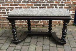 Granite top console table on barley twist legs W 132cm H 80cm D 46cm