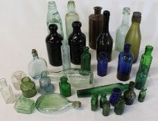 Selection of old glass bottles including Jos. Hill Ltd Irby