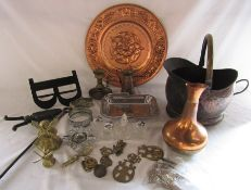 Various brass and copper inc cat door knocker, windmills, candlestick and silver plate etc