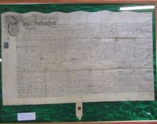 Framed Indenture dated 15th January 1697 (reign of William III) made between John Sudbury and his