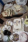 Part dinner service, cheese dish and selection of tableware etc. (2 boxes)