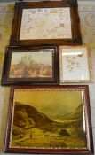 4 prints: Lincoln, pictorial map of Lincoln, a landscape & flowers