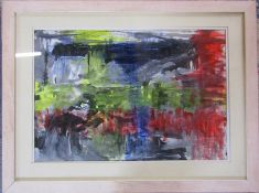 Framed acrylic abstract painting entitled 'St Just' by Vaughan Warren (RAS) 93 cm x 70 cm (size