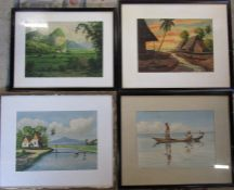 Group of 4 x Malaysian watercolours by M Nor 55 cm x 45 cm (size including frame)