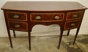Late 19th century mahogany Georgian style bow fronted sideboard with inlay on tapering legs H 92cm W